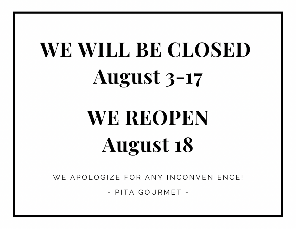 Closed for vacation August 3-17, 2021